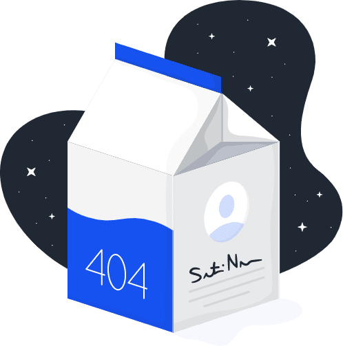 Graphic of a milk carton indicating a 404 error occurred