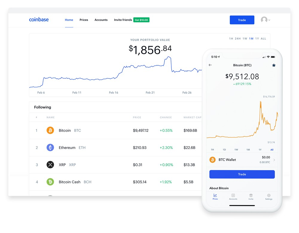 Applications Coinbase mobile et de bureau