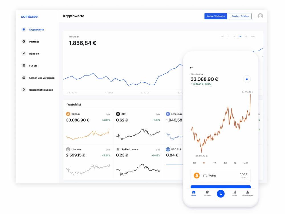 Coinbase-Desktop und Mobile App