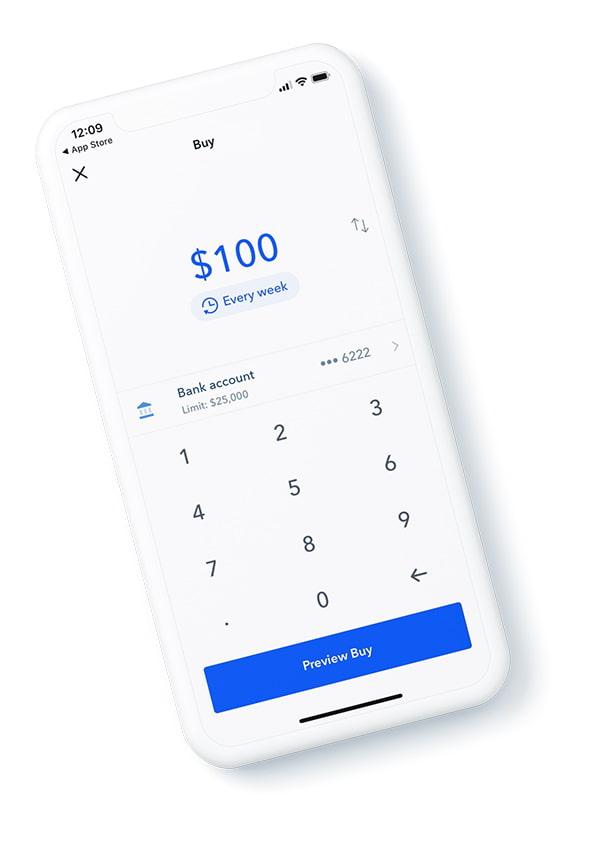 Aplicativo de celular da Coinbase
